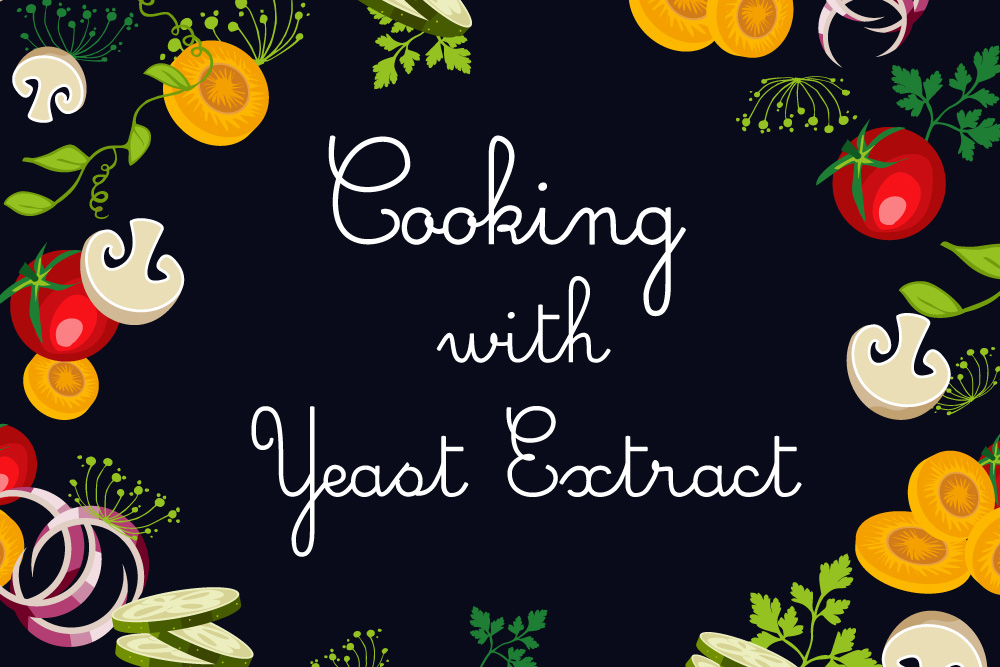 stylized writing: Cookin with yeast extract