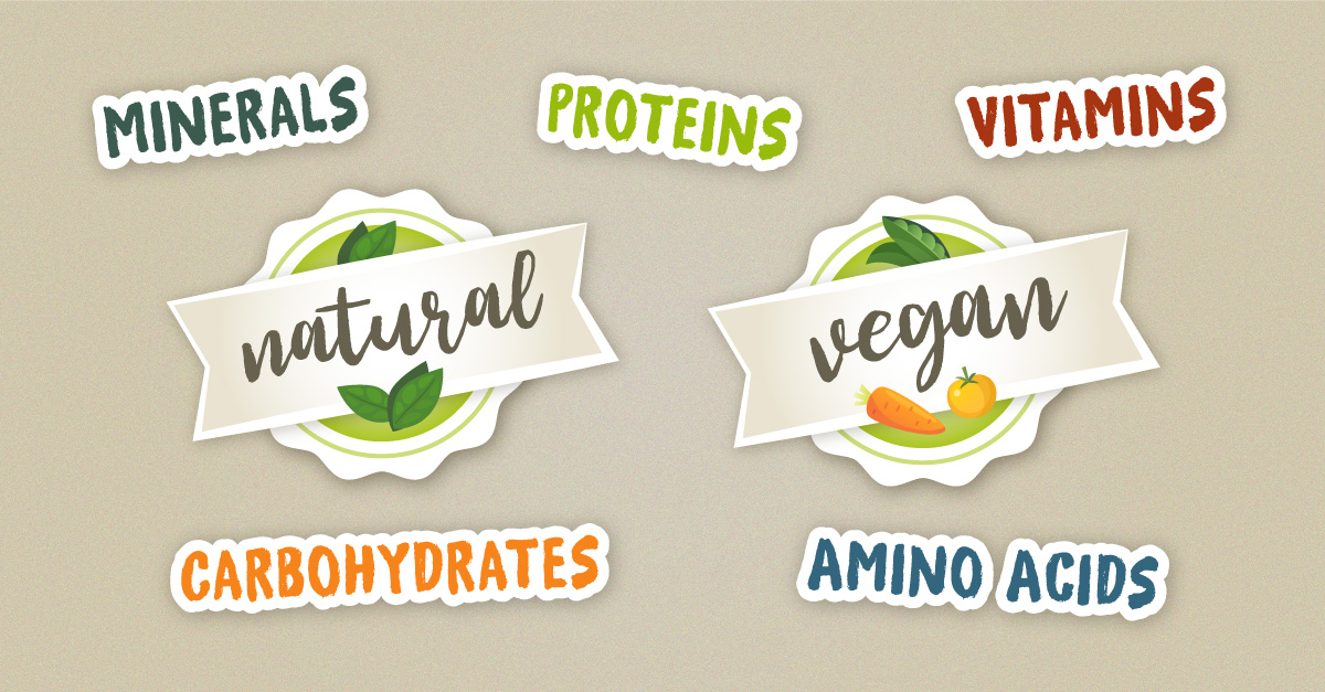 stylized writing: proteins, carbs, amino acids, vitamins, minerals, naural, vegan